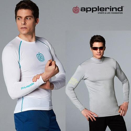 애플라인드 남성 플리스 하이넥 VS 메쉬 라운드넥 티셔츠