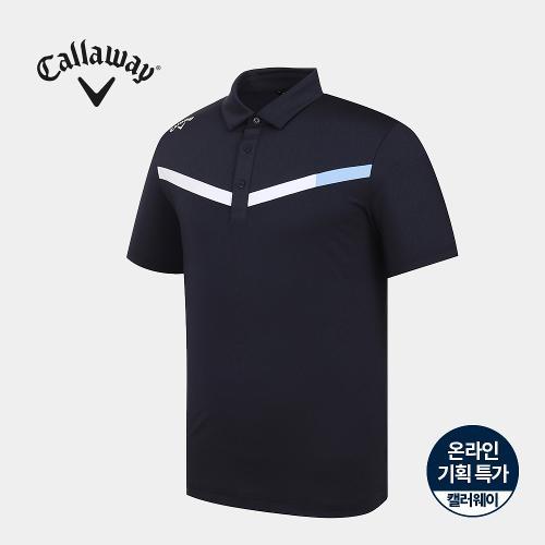 [캘러웨이]기획 남성 브이 배색 카라 반팔 티셔츠 CMTYJ2664-925_G