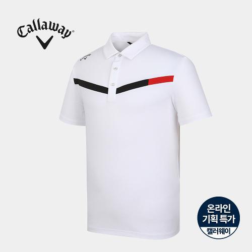 [캘러웨이]기획 남성 브이 배색 카라 반팔 티셔츠 CMTYJ2664-100_G