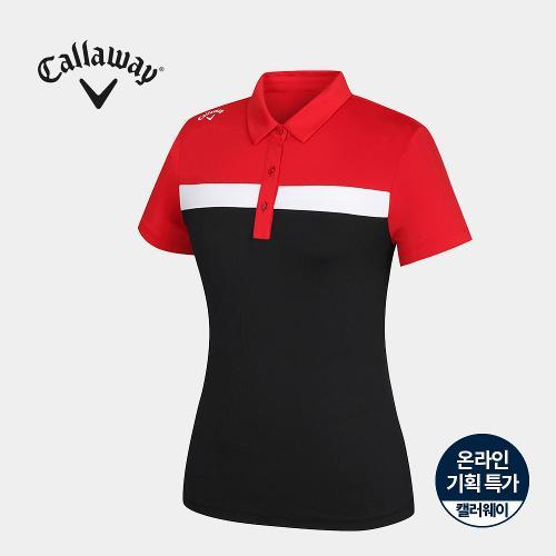 [캘러웨이]기획 여성 배색 카라 반팔 티셔츠 CWTYJ6667-500_G