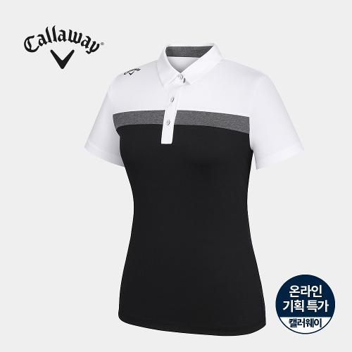 [캘러웨이]기획 여성 배색 카라 반팔 티셔츠 CWTYJ6667-100_G
