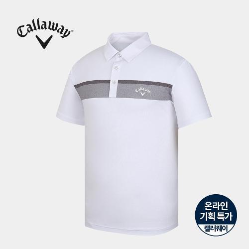 [캘러웨이]기획 남성 컬러 배색 카라 반팔 티셔츠 CMTYJ2672-100_G