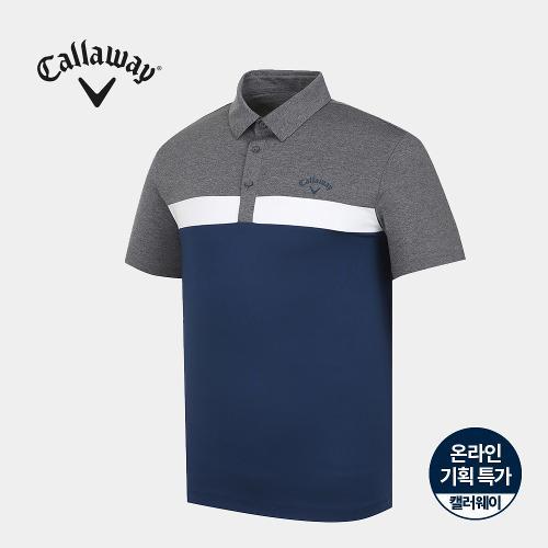[캘러웨이]기획 남성 컬러 블럭 카라 반팔 티셔츠 CMTYJ2668-905_G