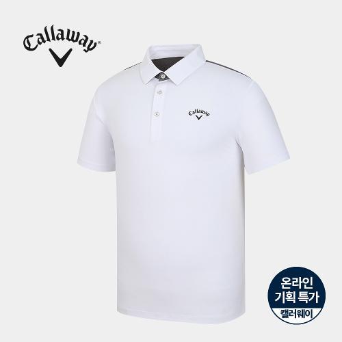 [캘러웨이]기획 남성 뒷판 매쉬 배색 카라 반팔 티셔츠 CMTYJ2751-100_G