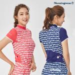 [먼싱웨어] [20FW]여성 냉감 패턴 반하이넥 반팔티셔츠 (M0322LTS71)