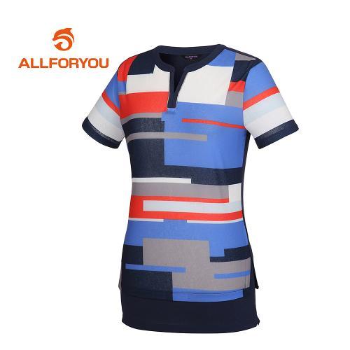 [올포유]여성 넥트임 패턴 반팔 티셔츠_AWTRG6152-915_G