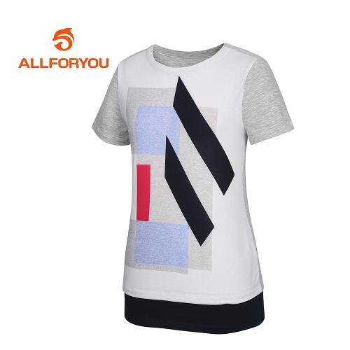 [올포유]여성 기하학 프린팅 배색 반팔 티셔츠_AWTRH6157-190_G