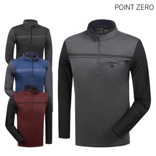 [POINT ZERO] 포인트제로 냉감 배색 하프집업 긴팔티셔츠 Model No_CB0158