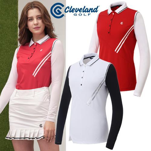 [클리브랜드골프] 플리츠넥 UV차단 썬가드 여성 골프 긴팔티셔츠/골프웨어_CGKWTS965