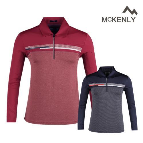 맥켄리 배색 고기능 긴팔 반집업 골프셔츠 RM20A440