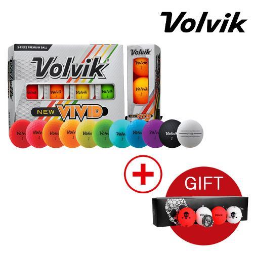 볼빅 2020 비비드 3피스 골프공 1더즌 12알+사은품(스컬팩2 패키지)