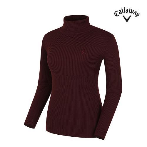 [캘러웨이] 여성 배색 포인트 골지 터틀넥 긴팔 스웨터 CWSHG7271-420_G