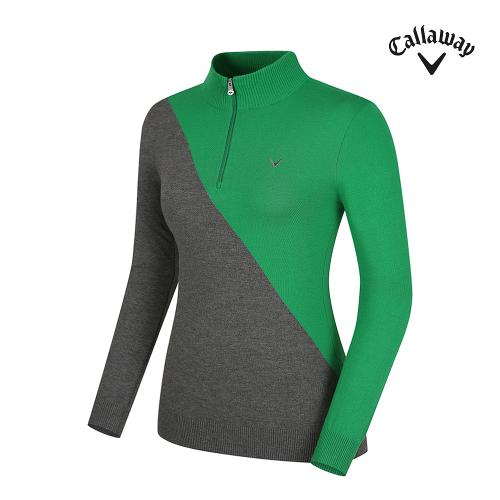 [캘러웨이] 여성 사선 배색 반집업 긴팔 스웨터 CWSHG7203-804_G