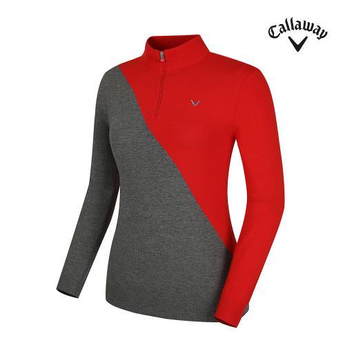 [캘러웨이] 여성 사선 배색 반집업 긴팔 스웨터 CWSHG7203-500_G