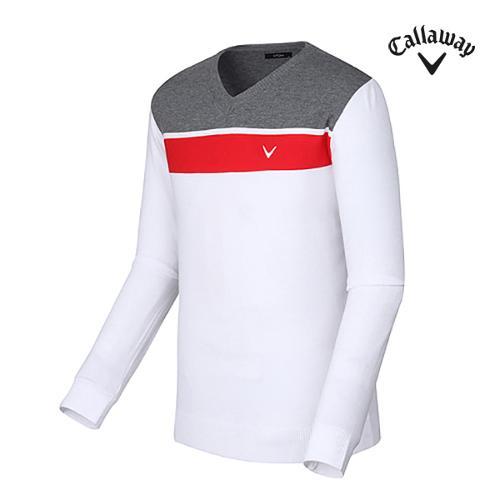 [캘러웨이]남성 블록 브이넥 티셔츠 CMSRF3202-100_G
