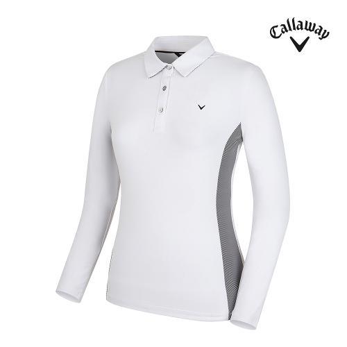 [캘러웨이] 여성 스트라이프 배색 카라 긴팔 티셔츠 CWTYG7102-100_G