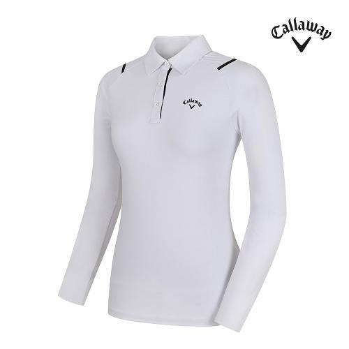[캘러웨이] 여성 띠배색 카라 긴팔 티셔츠 CWTYF7151-100_G